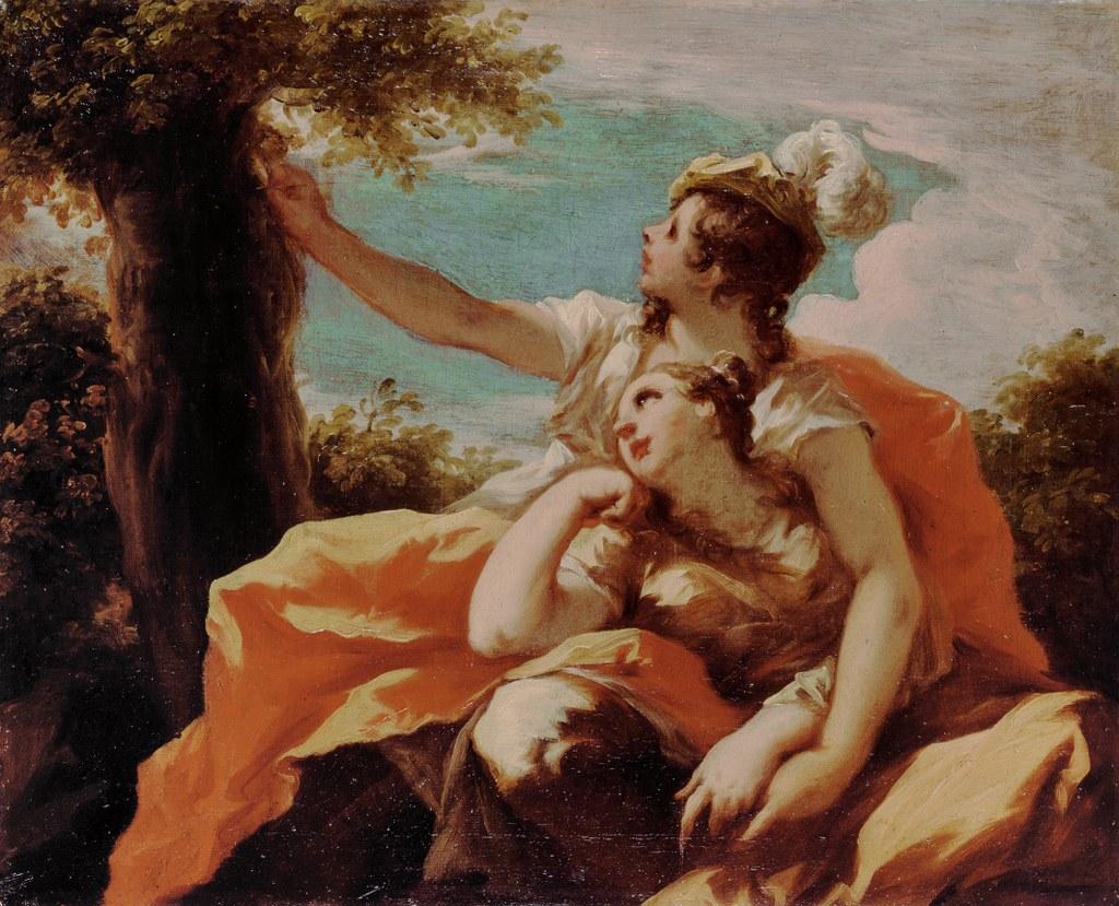 """Giovanni Antonio Pellegrini (1675 – 1741) Angelica und Medor – Irdische Liebe, Motiv aus Ariost's Versepos """"Der rasende Roland"""" (Orlando furioso), um 1715 Öl auf Leinwand, 47,4 x 58,3 cm, erworben 1908, Clemens Sels Museum Neuss."""