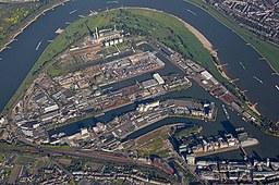 Luftaufnahme der Neuss Düsseldorfer Häfen