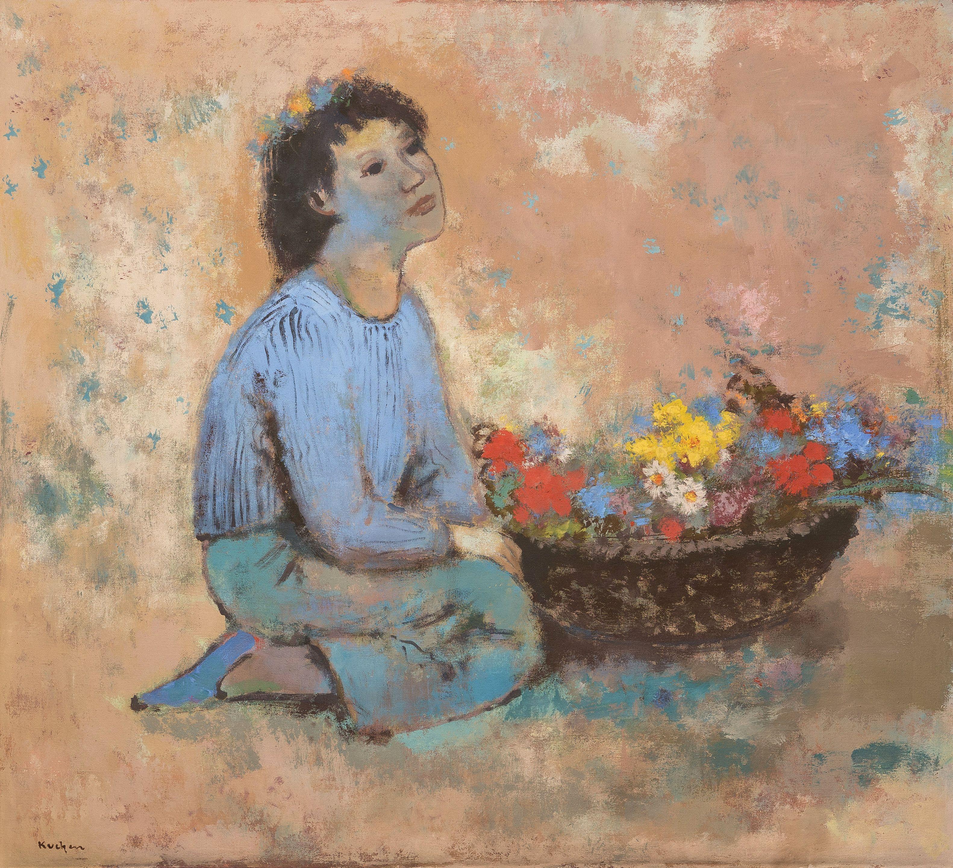 Josef Kuchen, Mädchen mit Blumenschale, Tempara auf Leinwand