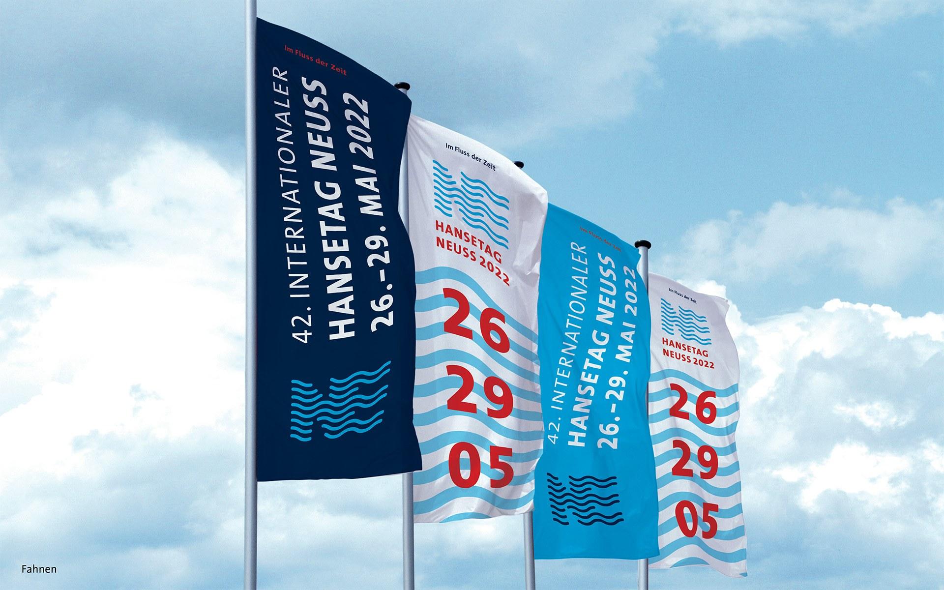 Corporate Design des 42. Internationalen Hansetags 2022 in Neuss: Fahnen