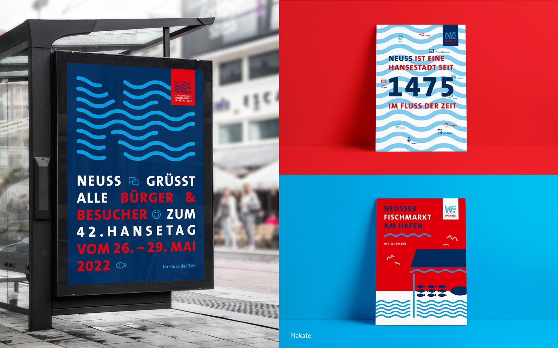 Corporate Design des 42. Internationalen Hansetags 2022 in Neuss: Citylights & Broschüren