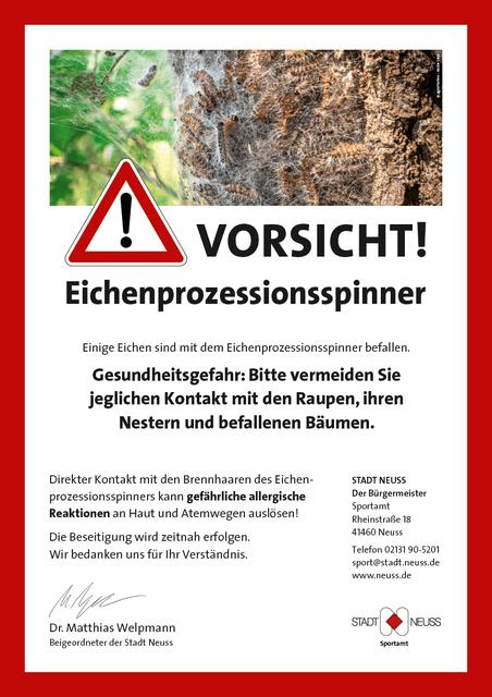 Warnplakat: Befall durch Eichenprozessionsspinner