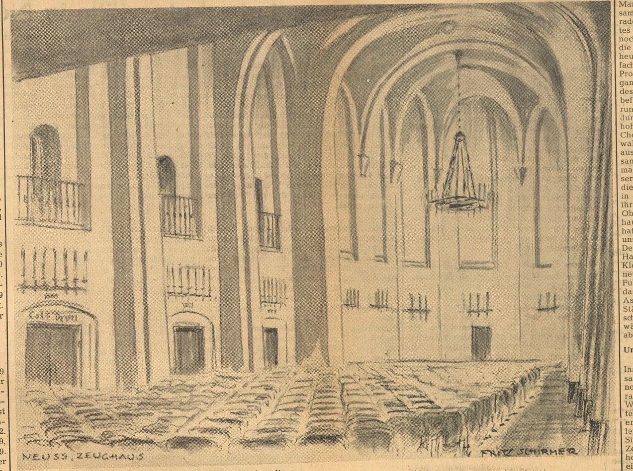Titelbild Neuss, Zeughaussaal, Zeichnung von Fritz Schirmer, 1949