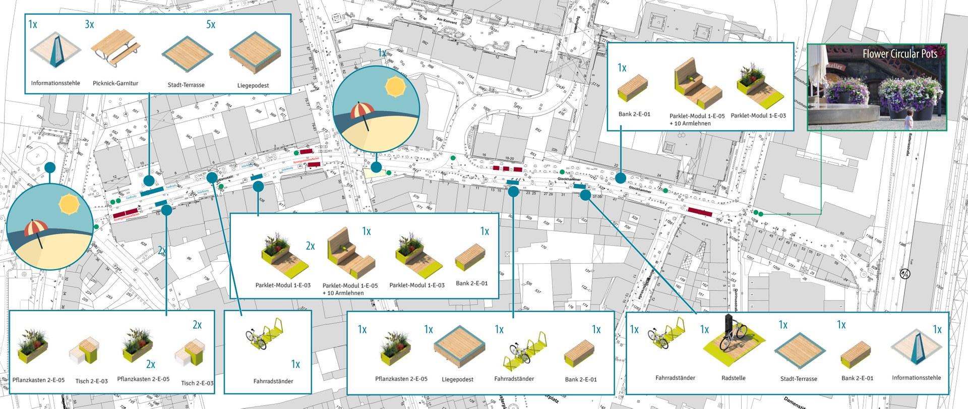 Schematische Darstellung der geplanten Änderungen und Einrichtungen, die auf der Sebastianusstraße und dem Glockhammer nach der Sperrung für den motorisierten Individualverkehr für mehr Aufenthaltsqualität sorgen sollen.