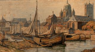 Josef Kohlschein d.J. - Alter Hafen Neuss, Öl auf Leinwand