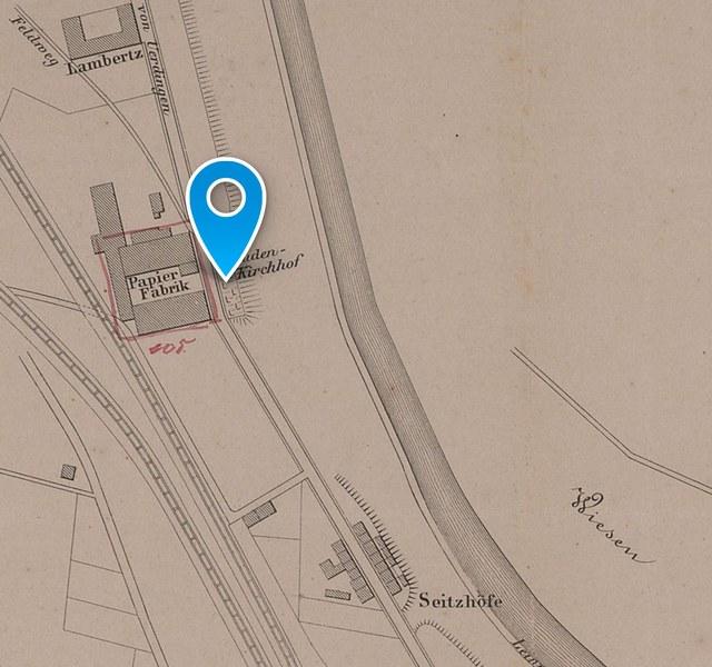 Ehemaliger jüdischer Friedhof: Historischer Lageplan 1873