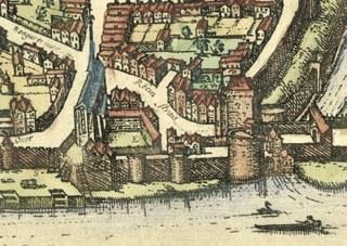 Das Kloster Marienberg auf dem Vogelschauplan von Braun und Hogenberg