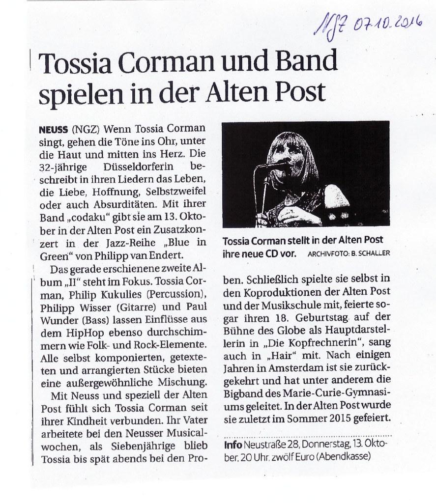 Konzert mit Tossia Corman in der Alten Post
