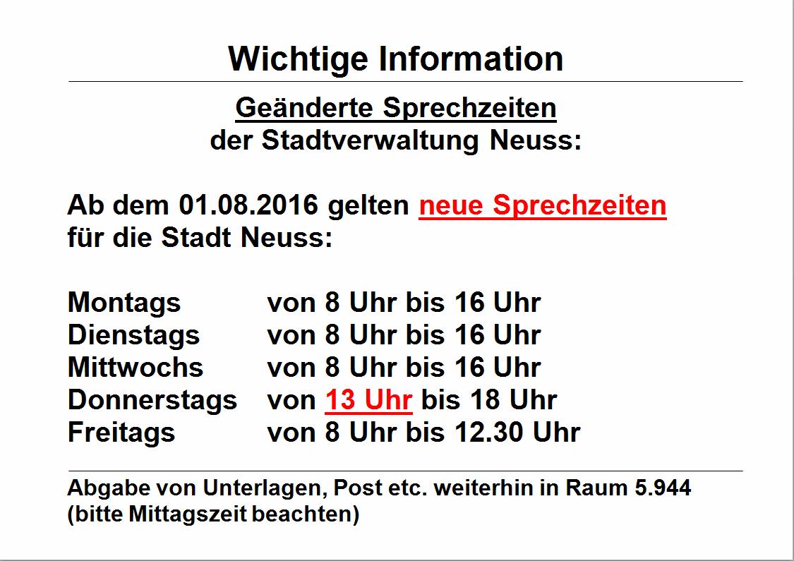 Neue Sprechzeiten der Stadtverwaltung Neuss ab dem 01.08.2016