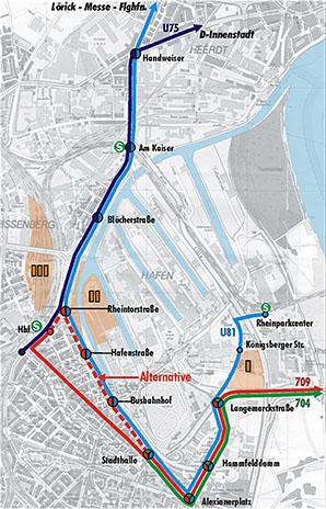 Geplantes Stadt- und Straßenbahnnetz (zum vergrößern klicken)