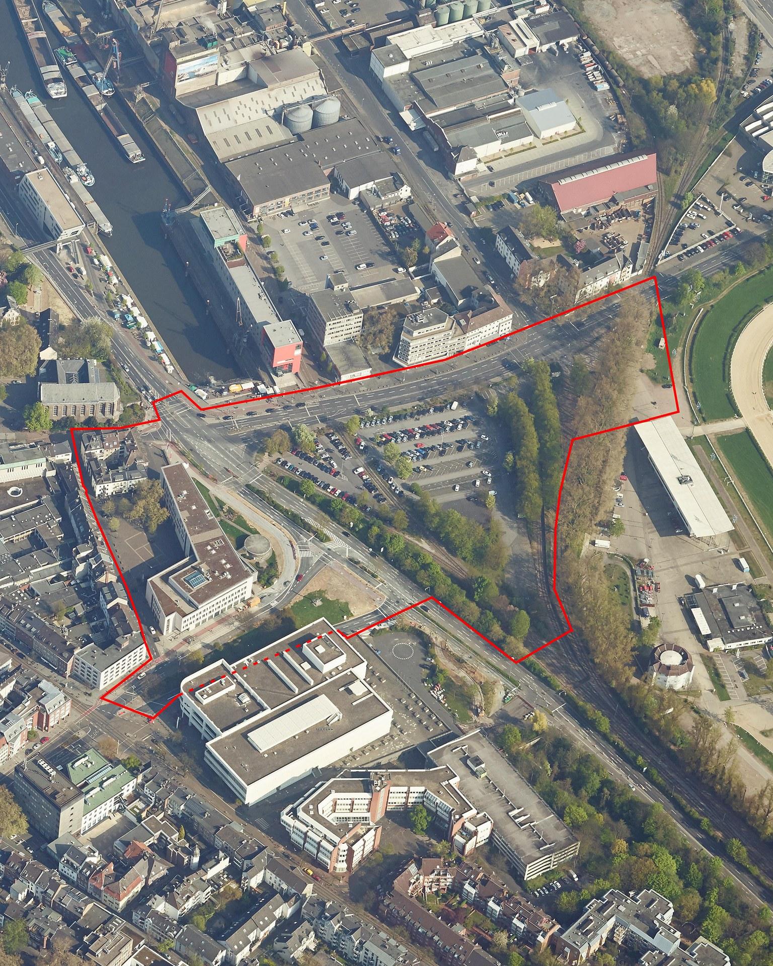 Wendersplatz Neuss: Schrägluftbild Wettbewerbsgebiet