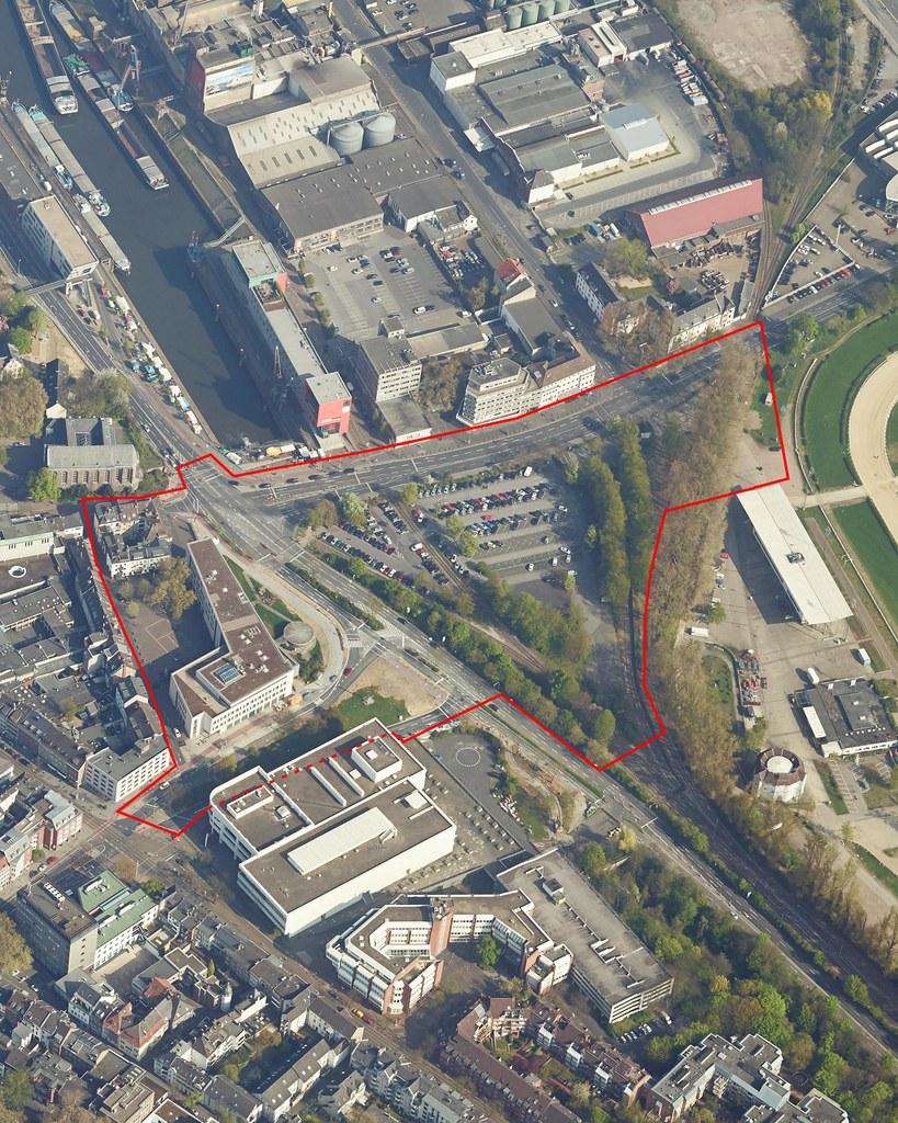 Schrägluftbild des Wendersplatzes und den Grenzen des Wettbewerbsgebiets