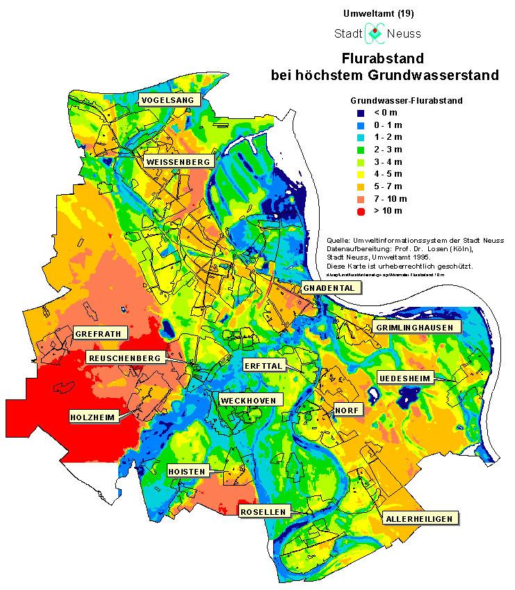 grundwasserstand karte nrw Abbildungen zum Grundwasser in Neuss — Neuss am Rhein
