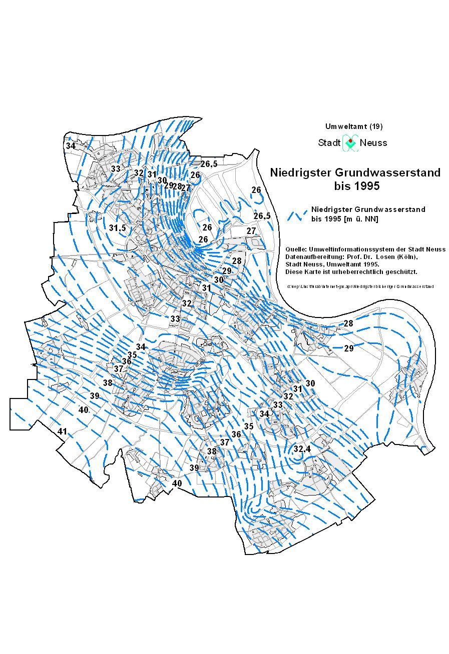 Grundwasserstand Karte Nrw.Erläuterungen Zur Grundwassersituation In Neuss Neuss Am Rhein