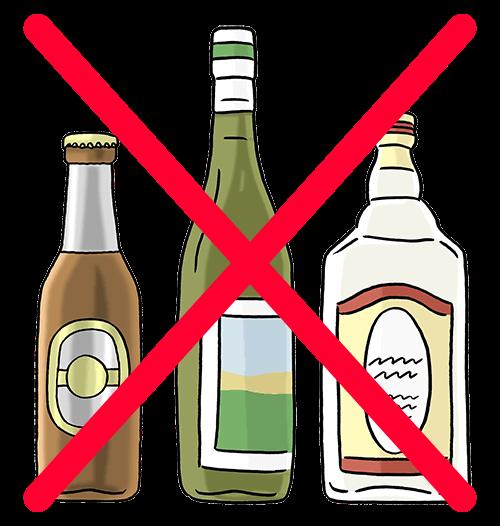 Alkohol ist durchgestrichen.