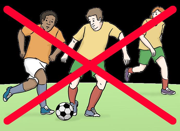 Fußball ist durchgestrichen.
