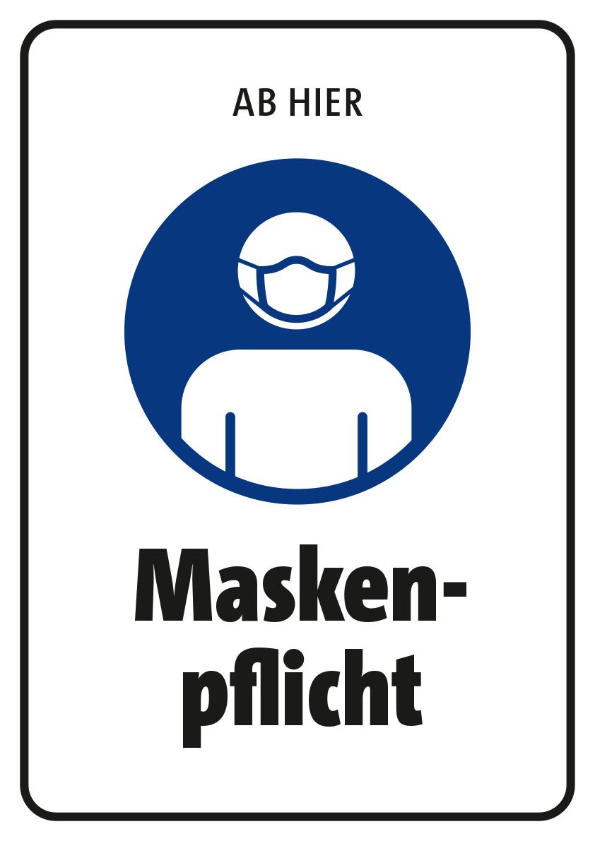 Schild mit dem Aufdruck Masken-Pflicht