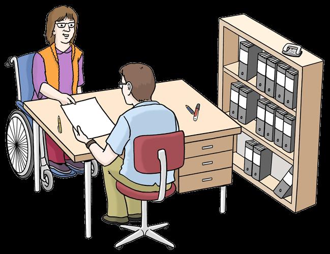Eine Frau im Rollstuhl beantragt ein Papier im Amt.
