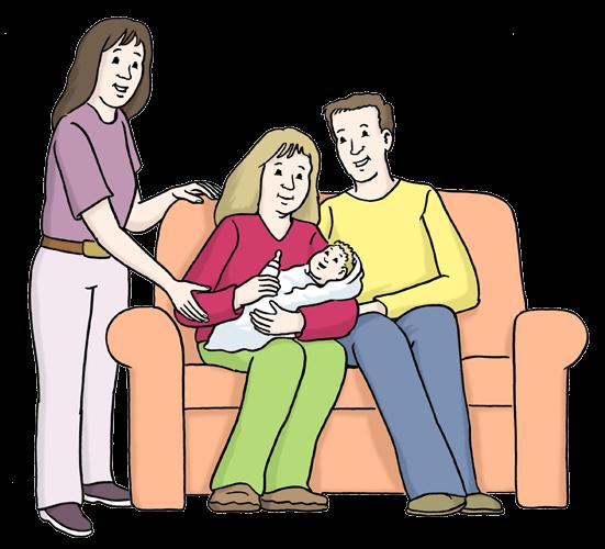 Eine Person hilft Eltern mit Baby.