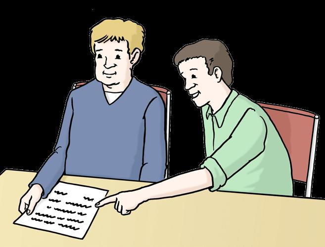 Eine Person erklärt einer anderen Person ein Papier.