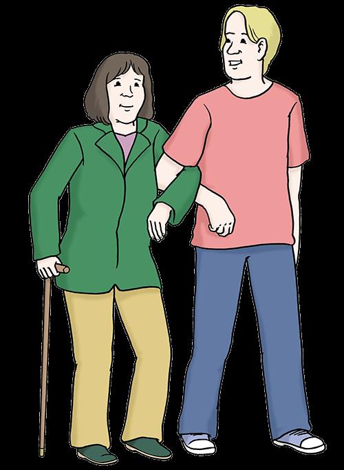 Frau mit Begleit-Person und Geh-Stock.