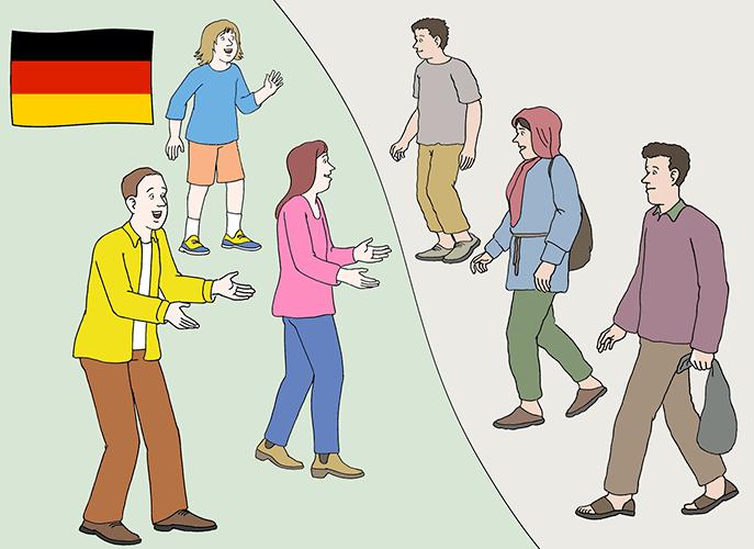 Leute suchen Asyl in Deutschland.