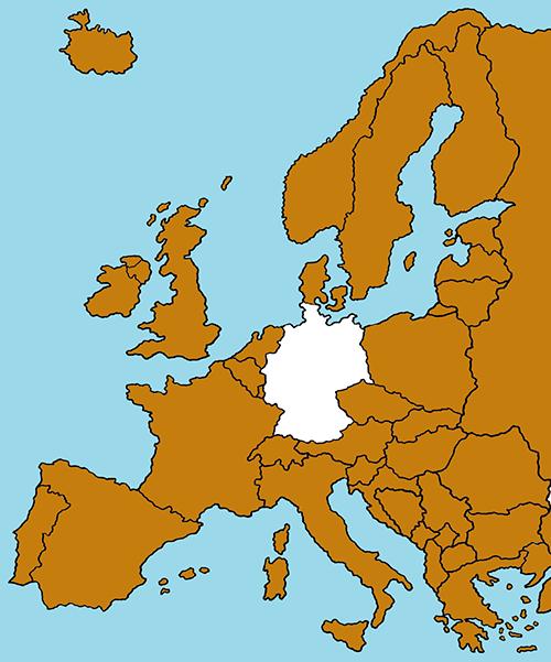 Das Bild 'Ausland' zeigt eine Karte von Europa: Deutschland ist weiß, das Ausland ist farbig gestaltet.
