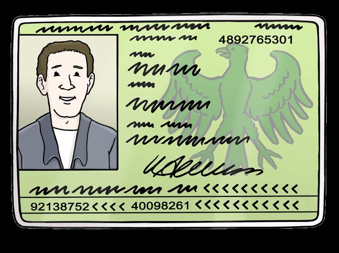Personal-Ausweis mit einem Foto von einem Mann.