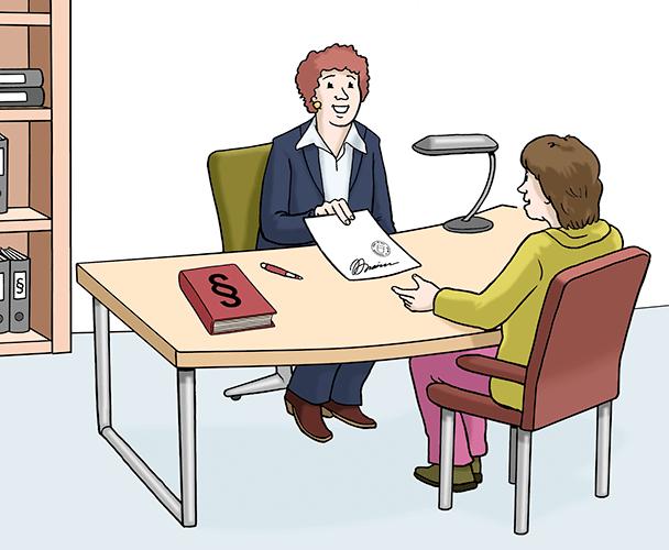 Eine Frau lässt Papiere im Amt beglaubigen.