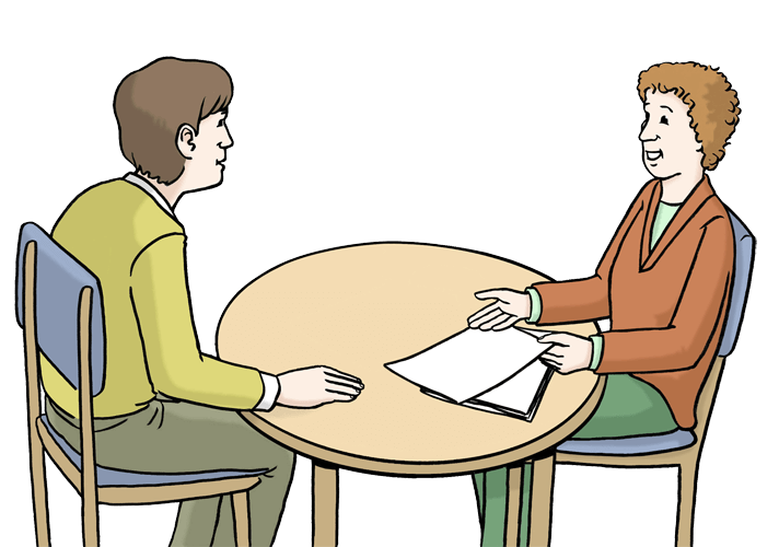 Zwei Personen bei einer Beratung.