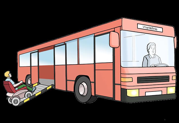 Mann im Rollstuhl fährt in den Bus.
