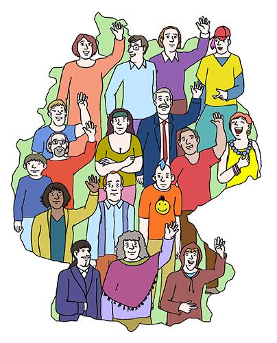 Demokratie: Die Menschen in Deutschland wählen und entscheiden.