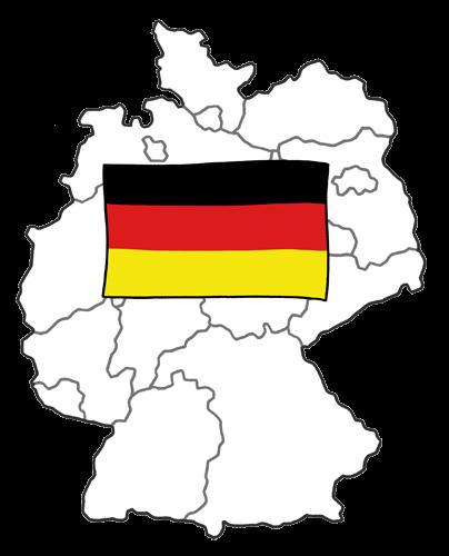 Karte von Deutschland mit Flagge.