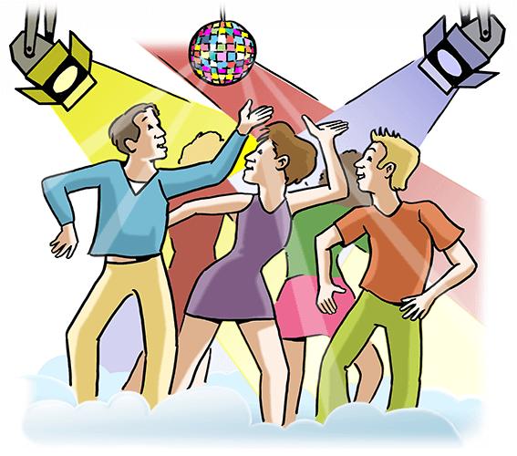 Menschen tanzen in einer Disko.
