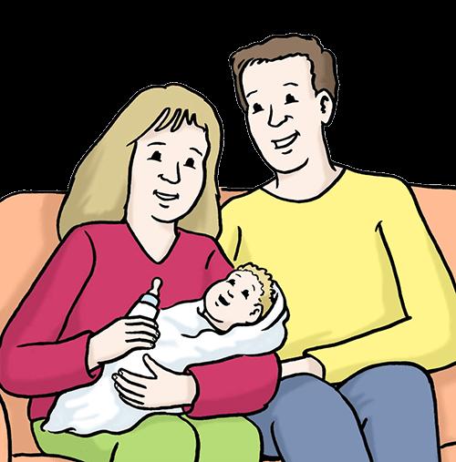 Eltern mit einem Baby.