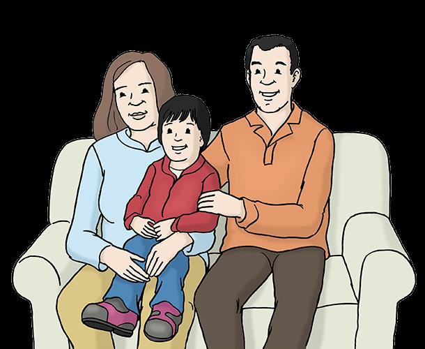 Eltern mit Kind auf dem Sofa.
