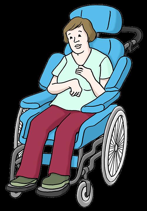 Eine Frau sitzt im Rollstuhl.