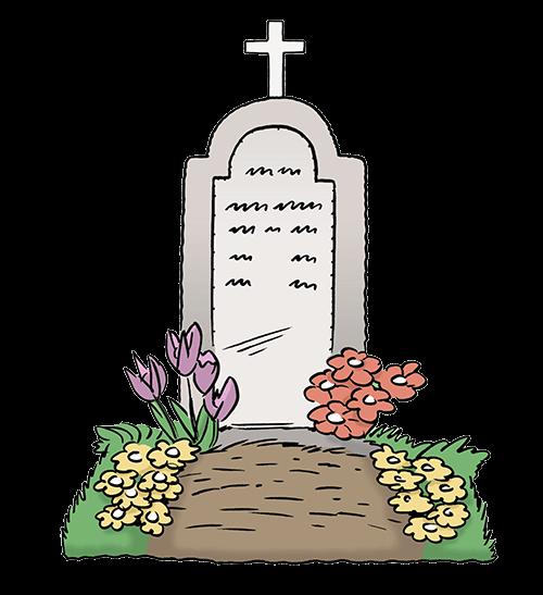 Friedhof mit Grab.