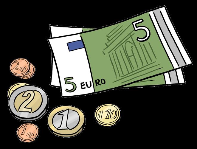 5-Euro-Scheine und Kleingeld.