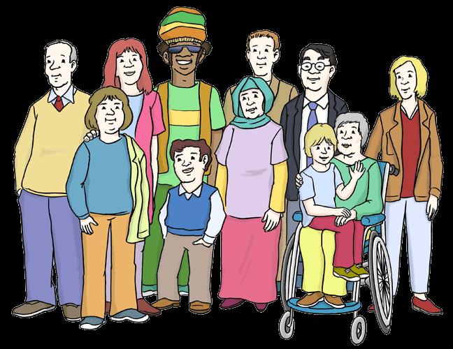Verschiedene Menschen: Jung und alt, mit und ohne Behinderung.