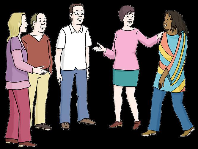 Eine dunkelhäutige Frau wird von einer Gruppe willkommen geheißen.