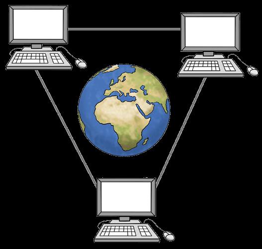 3 Computer sind miteinander verbunden, rund um die Welt.