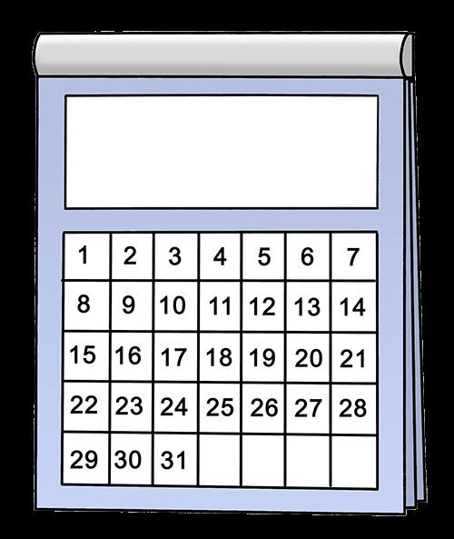 Kalender mit 31 Tagen.