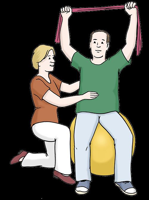 Ein Mann macht Kranken-Gymnastik auf einem Ball. Eine Frau hilft ihm dabei.