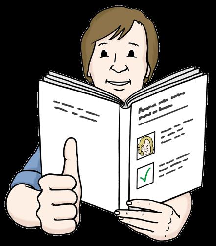 Leichte Sprache – Mann liest ein Buch und freut sich