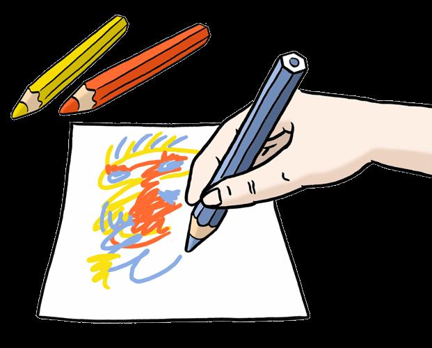 Eine Person malt etwas mit Stiften.
