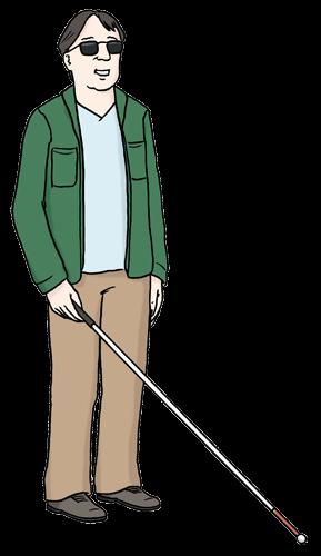 Mann mit Blinden-Stock.