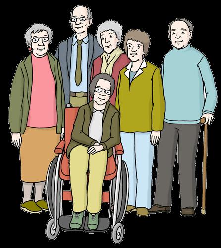 Gruppe mit alten Menschen.