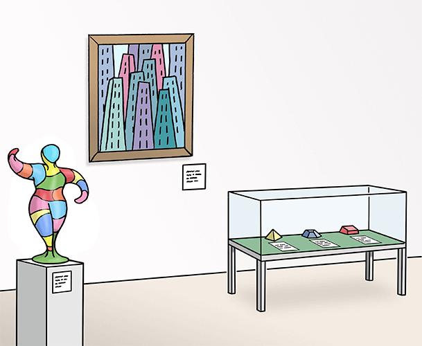 Ausstellung mit Bildern und Statuen im Mueum.
