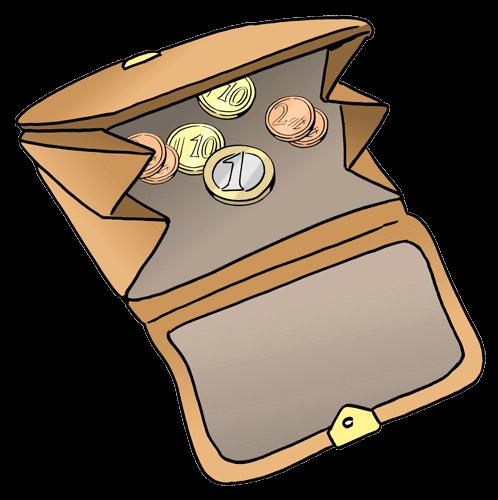 wenig Geld im Geld-Beutel.